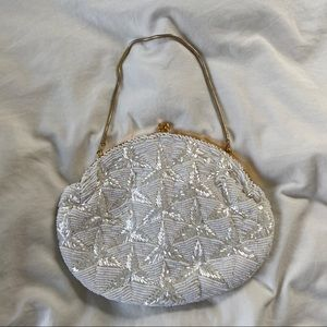 La Regale Vintage Hand Made White Sequin Pouch